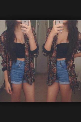 jacket burgundy denim shorts black vest kimono help? indie tank top