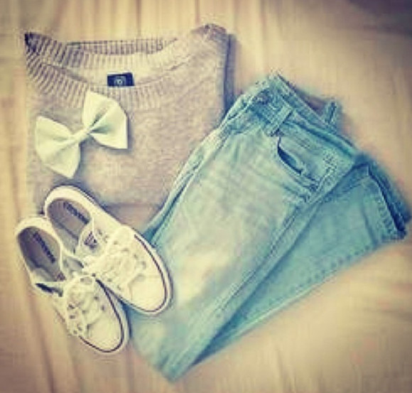hair bow sweater converses skinny jeans winter sweaters shirt jeans shoes