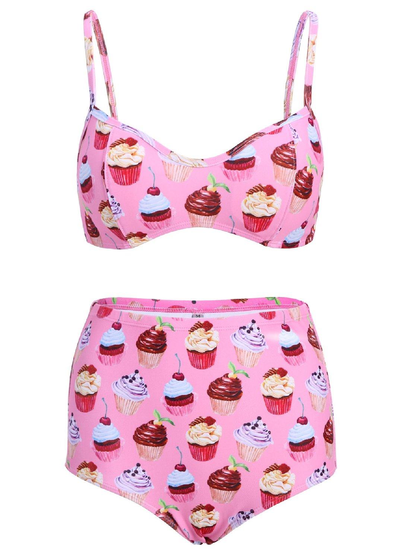 Light pink cupcake high waist retro vintage bikini top and bottom swimsuit swimwear at amazon women's clothing store: