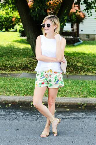 kim tuttle the knotted chain - a style blog by kim tuttle blogger top shorts shoes sunglasses