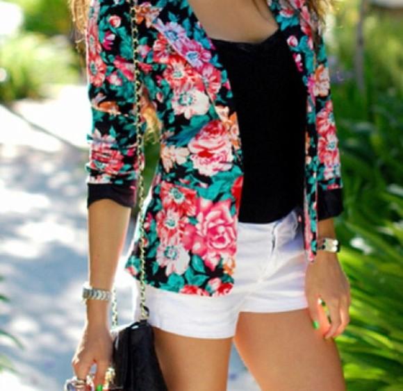 jacket pink flowers blue flowers floral floral blazer floral jacket multi colored