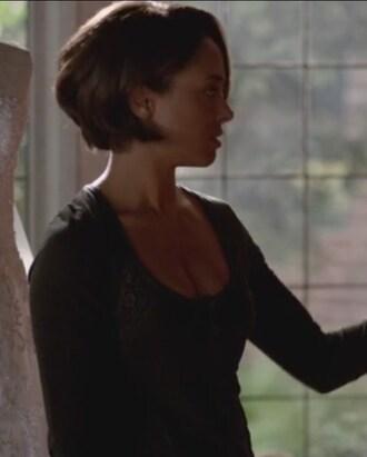t-shirt black crochet tee bonnie bennet the vampire diaries kat graham
