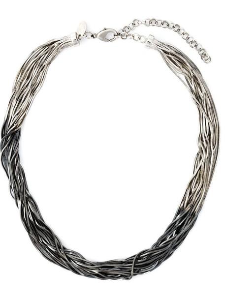 IOSSELLIANI sun metal women necklace black grey metallic jewels