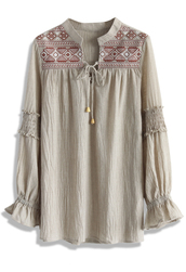 top,boho embroidered cotton blouse in sand,sand,boho,blouse