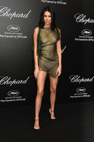 dress see through see through dress mesh mesh dress kendall jenner kardashians cannes mini dress sexy dress asymmetrical gold gold dress glitter glitter dress shoes