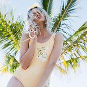 swimwear,yeah bunny,daisy,pastel,nude,floral,flowers,one piece swimsuit