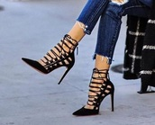 shoes,black heels,black lace up heels,pointy heels
