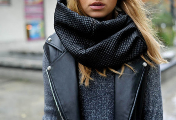 scarf black scarf fashion accessories winter outfits shirt grey sweater jacket leather jacket black leader hot patern