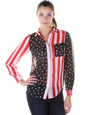 Sheer American Flag Blouse