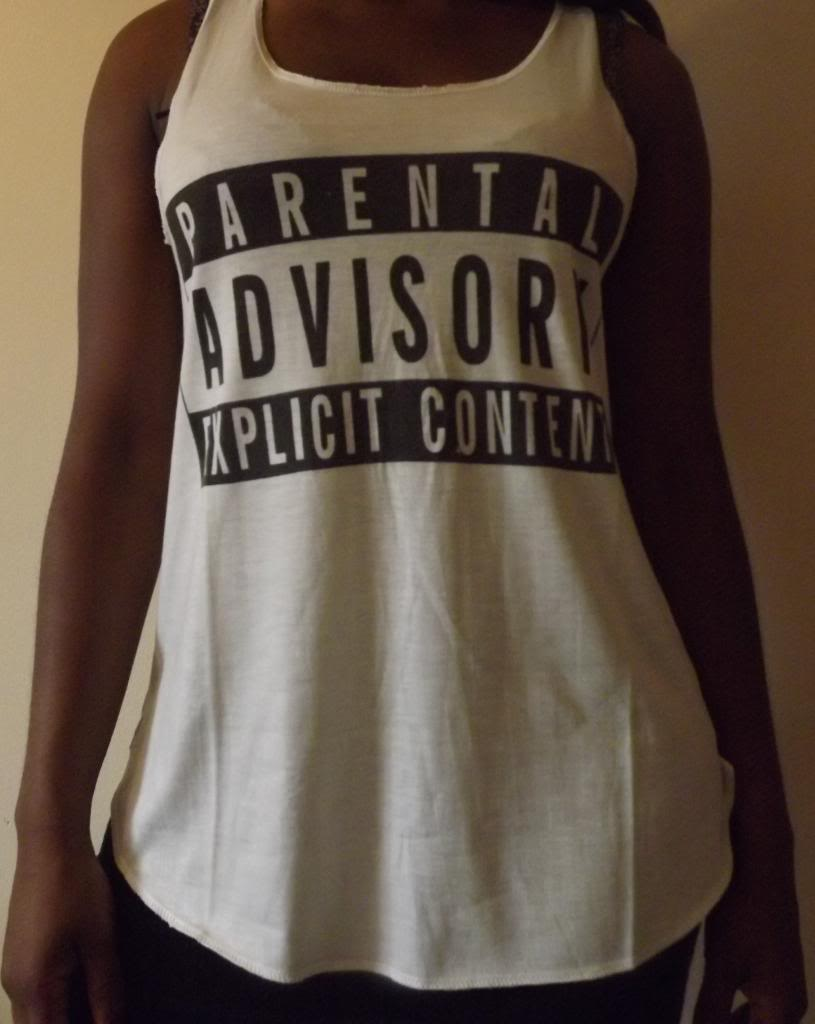 Parental Advisory Explicit Content T Shirt Vest Tank TOP Ladies Girls NEW Tshirt | eBay