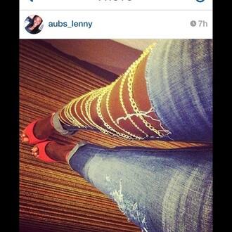 jeans gold chains fashion chain