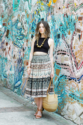 orchid grey,skirt,jewels,shoes,bag,vintage,blogger,boho,boho chic,hippie,hippie chic,maxi skirt,aztec,native american,pattern,necklace,bracelets,sandals,crop tops,summer outfits,festival,beach,beaded,african print,stacked wood heels
