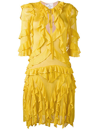 dress knitted dress ruffle women yellow orange