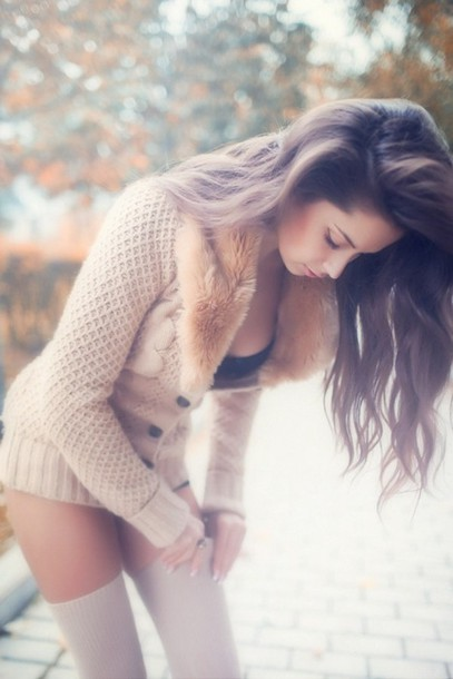 sweater knitted sweater faux fur clothes fur high socks jacket winter outfits vest pullover cartigan nude sweater light brown cardigan sweater fur