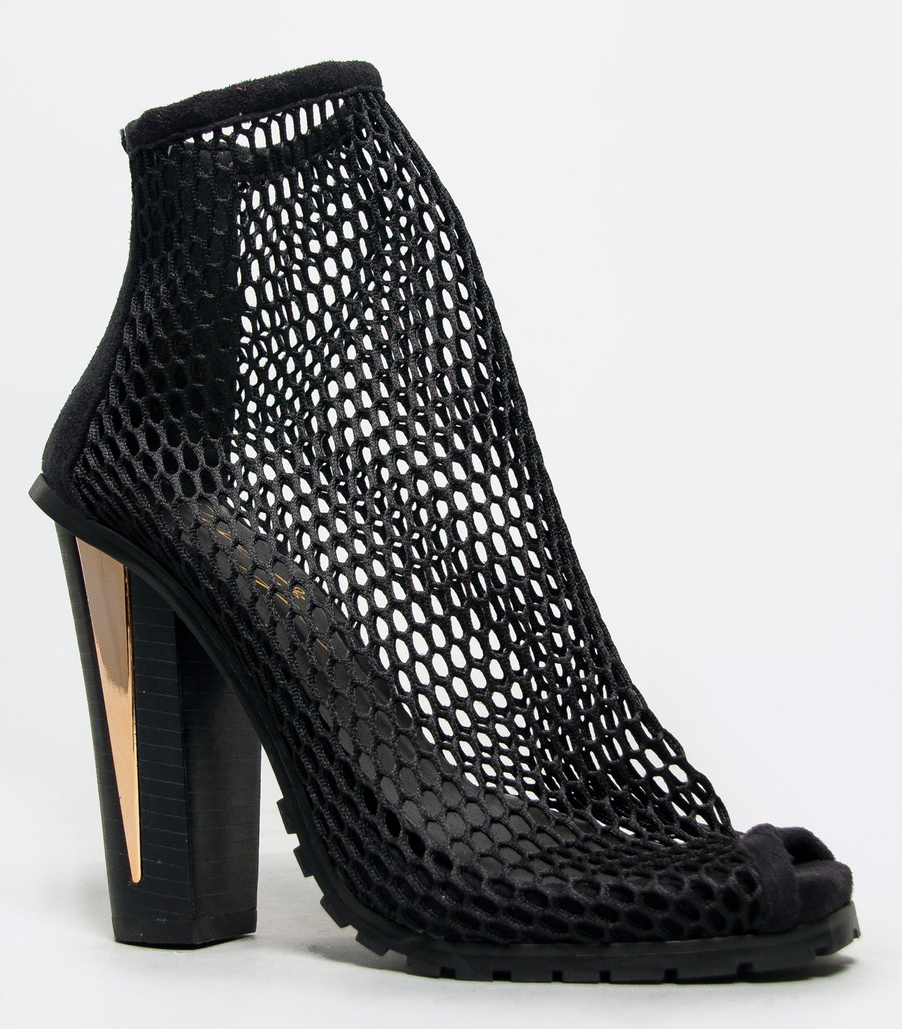 Amazon.com: yara chunky heel peep toe athletic net ankle boot bootie: shoes