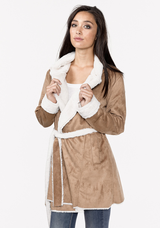 jacket trench coat tie waist faux fur jacket faux fur vegan fur vegan jacket camel