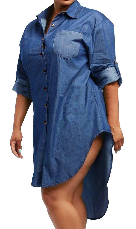 women's new plus size asymmetrical denim dress at amazon women's