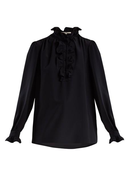 blouse ruffle silk navy top