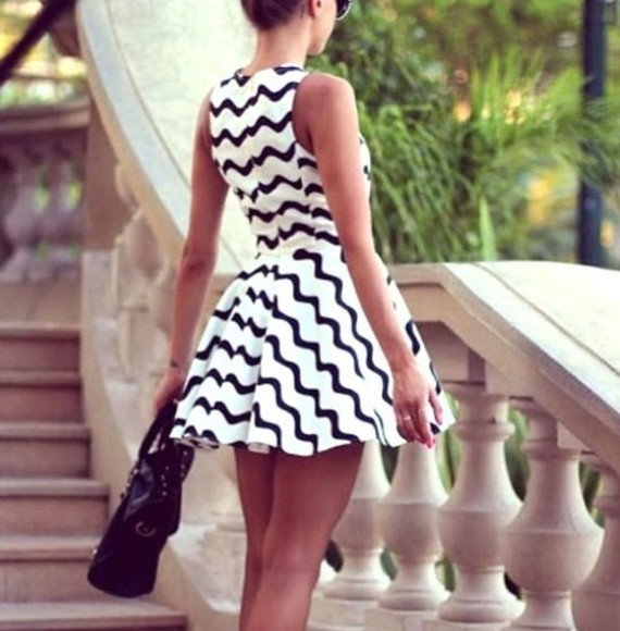 dress summer dress cute little black and white dress sexy