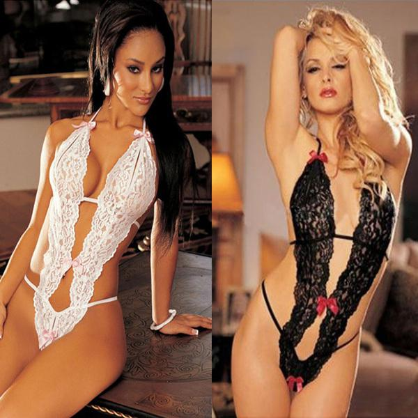 Women sexy lingerie sexy underwear women lady dress lace jumpsuits white black, $7.51