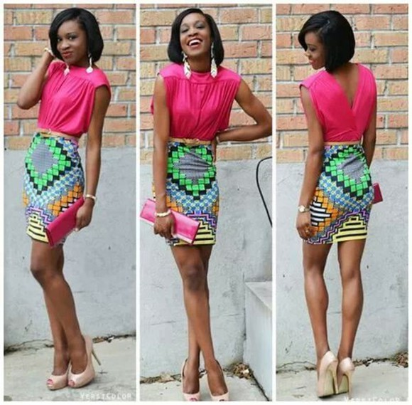 geometric skirt bright pencil skirt