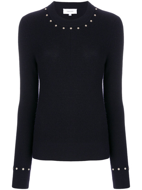 Carven sweater knitted sweater studded women blue