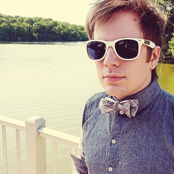 sunglasses rayban patrick stump bow tie boy boyfriend cute blue shirt
