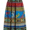 Jungle-print gathered cotton midi skirt