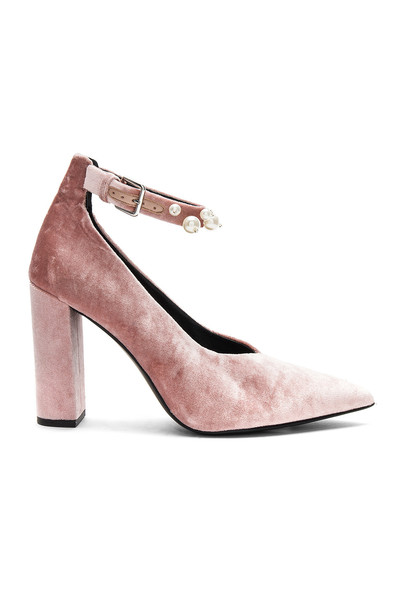 Sol Sana heel rose pearl velvet shoes