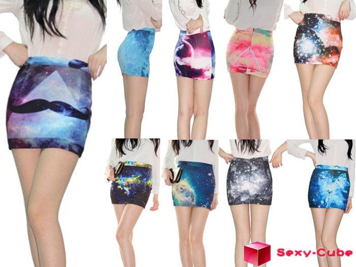 2013 New Women's A Line Skirt Digital Printing High Waist Universe Galaxy Dress | eBay