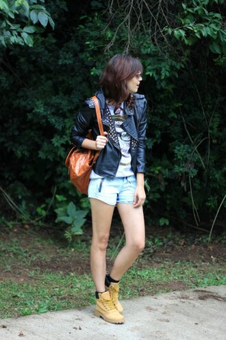 my name is glenn blogger denim shorts perfecto studded jacket