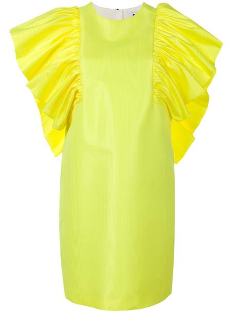 MSGM dress ruffle women yellow orange
