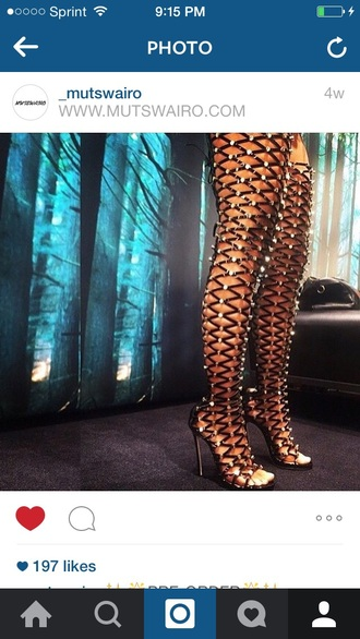 shoes studs high heel sandals black heels thigh highs open toes lace up boots