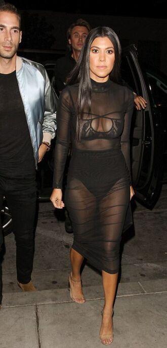 dress mesh mesh dress kourtney kardashian mini dress sexy dress black dress see through see through dress sheer bra panties sandals kardashians underwear