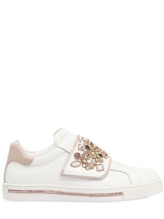 sneakers leather gold white shoes