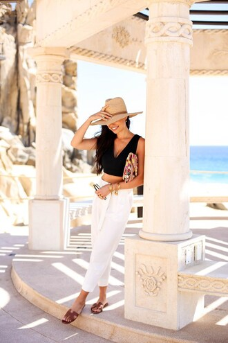 with love from kat blogger hat jewels black top white pants clutch flats crop tops black crop top summer outfits spring outfits