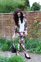 jacket,floral,floral blazer,floral pants,floral suit,trouser suit,fashion blogger,Pop Couture,pants
