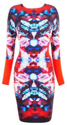 Clothing : Bodycon Dresses : 'Dee' Red Printed Longsleeve Stretch Crepe Dress