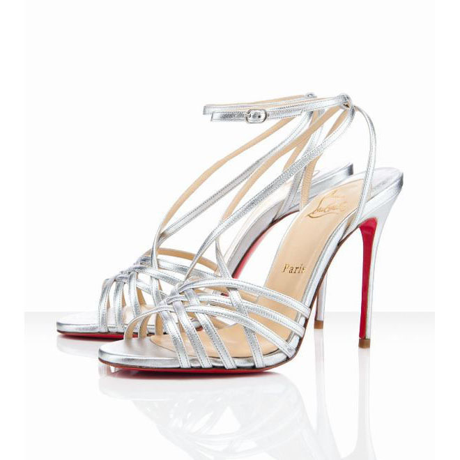 leather christian louboutin beverly 100 silver sandals