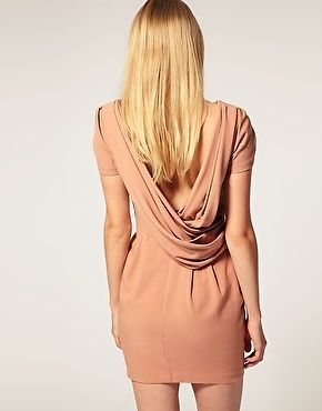 Asos Size 10 Shift Dress Cowl Back pink peach nude mini 10 cap tulip sleeves