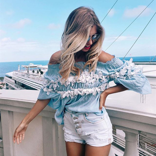 Aliexpress.com : Buy Summer T shirt 2016 New Fashion Patchwork Broken Floral Half Sleeve T shirts Off The Shoulder Sexy Tee Tops Strapless,t shirts from Reliable t-shirt jeans suppliers on Fashion Sunlight