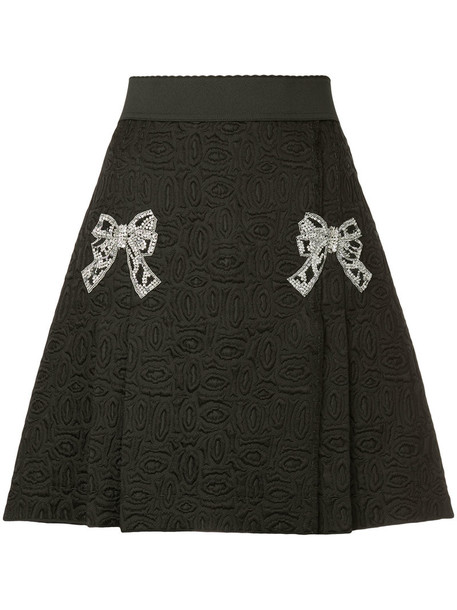 Dolce & Gabbana skirt bow women jacquard black silk wool