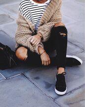 cardigan,tumblr,oversized cardigan,oversized,camel,chunky knit,top,stripes,striped top,denim,jeans,black jeans,skinny jeans,black skinny jeans,black ripped jeans,ripped jeans,sneakers,black sneakers,bag,black bag