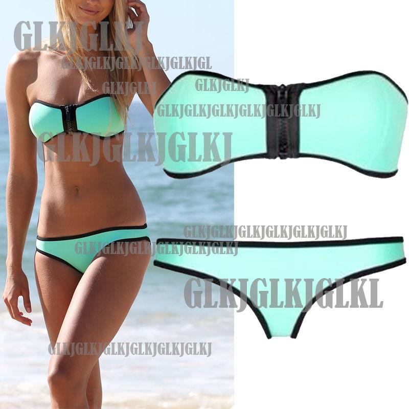 Women's Mint Push Up Padded Front Zip Strapless Bikini Set Swimwear Swimsuit | eBay