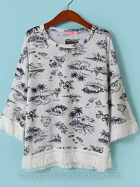 Grey Round Neck Three Quarter Length Sleeve Floral Print Pullovers Knit Top - HandpickLook.com