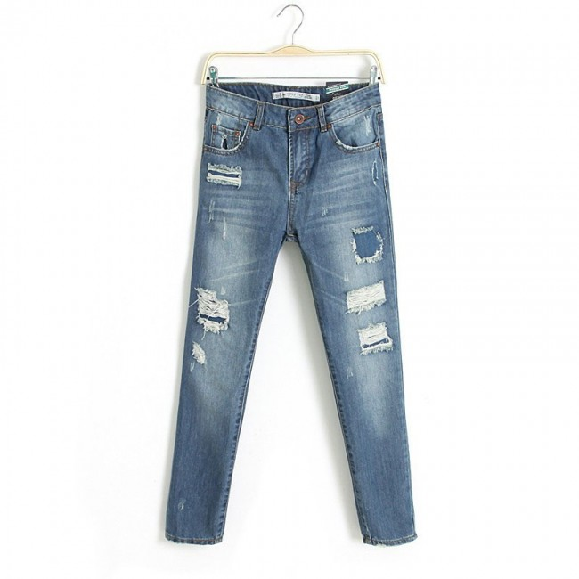 Frayed style jeans