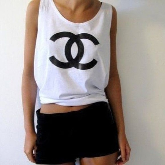 chanel white loose shirt