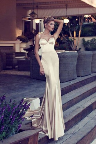 dress champagne satin backless mermaid prom dress spaghetti strap wedding dress wedding bustier dress bustier wedding dress long dress silk dress sweetheart neckline cream dress corset prom dress long prom dress silk