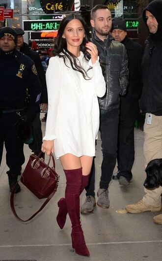 shoes boots over the knee boots olivia munn white white dress bag fall outfits
