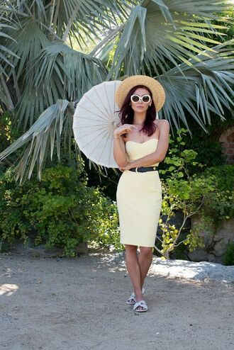 dress tumblr white shoes sunglasses hat yellow yellow dress midi dress bodycon dress bodycon shoes slide shoes umbrella white sunglasses tube dress belt sun hat spring outfits spring dress